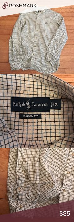 Men's Ralph Lauren custom fit button down Men's Ralph Lauren custom fit button down. Size medium. Does have a small spot as shown in the last picture. Haven't tried to get it out for my brother. Super soft. White with navy and light blue stripes Ralph Lauren Shirts Casual Button Down Shirts