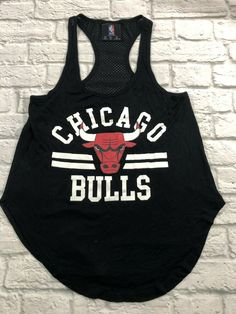 Details about NBA Chicago Bulls Womens Tank Top Size Small Black Red Large  Logo Racerback 91bddd5030