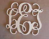 "24"" INCH Large 3 Wooden Vine Connected Monogram Letter, Unfinished,Unpainted. $27.00, via Etsy."
