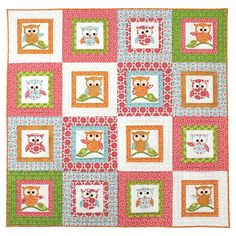 With the GO! Owl-rageous Wall Hanging Pattern you can create owls with a lot of character just by playing with their eye and arm placement. Fabrics provided by Riley Blake Designs