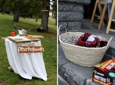 Blankets for the lawn and a photobooth