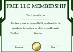 free llc membership certificate template - Membership Certificate Template Free