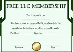 Free club membership certificate template free membership free llc membership certificate template yelopaper Gallery