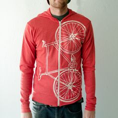 Large - Fixie - unisex eco-heather zip hoodie, creme on red. $45.00, via Etsy.