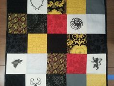 Game of Thrones Quilt Blanket, Baby, Sigil, Black Red, Wall Hanging, Gold Patchwork Quilt on Etsy, $69.00