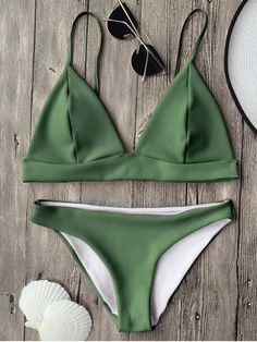 $13.49 Cami Plunge Bralette Bikini Top and Bottoms - GREEN M