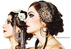 Zoe & Rachel for Black Lotus Clothing Classic tribal fusion makeup.  broach A-symmetrical design