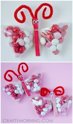 M&M Butterfly treats for Valentine's Day! Cute gift idea from the kids.
