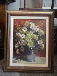 Rudolph Colao Oil On Masonite Daisies And Asters 2
