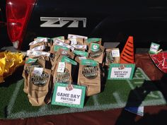 Snacks table for flag football party. With grass runner made from fake grass from Home Depot! Flag Football Party, 10th Birthday, Happy Birthday, Fake Grass, Snack Recipes, Snacks, Pop Tarts, Party Ideas, Table