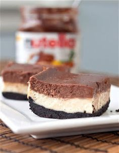 Nutella Cheesecake Bars with Oreo Crust