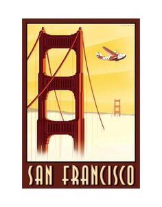 Vintage travel poster - USA - San Francisco - Golden Gate Bridge and China Clipper Famous Ads, Usa San Francisco, Travel Ads, Sf Travel, Travel Abroad, Travel Destinations, Painting Edges, United States Travel, Vintage Travel Posters