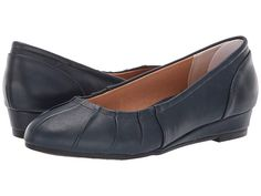a2f4b5f51b2 Me Too Marcie (Navy Leather) Women s Wedge Shoes. Up your poise game with