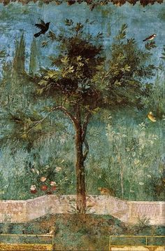 This lovely scene is from a wall painting at Villa Livia (near Rome).  The villa was part of Livia Drusilla's dowry.  Livia (58 B.C. - A.D. 29) was 3rd wife of Augustus & empress of the Roman Empire.  She was mother of Tiberius, grandmother of Claudius, great grandmother of Caligula & great great grandmother of Nero...