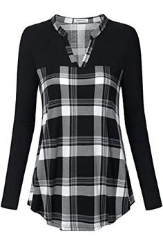 Shop a great selection of Liamluna Women's Sleeve Henley V Neck Color Block Plaid Tunic Shirt. Find new offer and Similar products for Liamluna Women's Sleeve Henley V Neck Color Block Plaid Tunic Shirt. Umgestaltete Shirts, Shirt Blouses, Casual Shirts, Plaid Tunic, Tunic Shirt, Tunic Tops, Women's Henley, Blouse Online, Mode Outfits