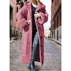 Solid Chunky knit Hooded Casual Long Cardigan (1002322445) - Sweaters - #322445 vencano Long Knit Cardigan, Dress For Short Women, Sweater Coats, Long Sweaters, Pullover, Lana, Crochet, Types Of Sleeves, Ideias Fashion