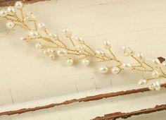 Boho Bridal Freshwater Pearl Hair Vine by VirginiaGeigerJewels
