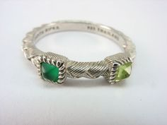 Estate Judith Ripka Sterling Silver 925 Pyramid Emerald Peridot Band Ring Sz 10 #JudithRipka #Stackable #AnniversaryBirthdayEveryday