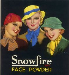 Vintage Makeup Giclee Print: Three Girls of the Ginger Rogers Era Who Use Snowfire Face Powder by Wilton Williams : - 1930s Makeup, Vintage Makeup, Vintage Beauty, Makeup Ads, Vintage Vanity, Posters Vintage, Vintage Prints, Vintage Labels, Vintage Colors