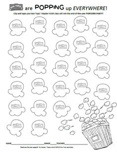 Popcorn Party themed Box Tops for Education Collection sheet (25)