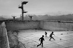 Football at the swimming pool... on a hilltop in Kabul, Afghanistan