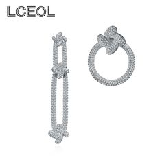 LCEOL Now Products 2018 Bulgaria Jewelry Anisomerous Dangle Kite Earring,  Luxury AAA+ Cubic Zirconia+Plata Pin Drop Earrings