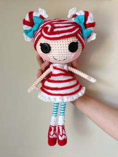 LALALOOPSY Mint E Stripe Crochet Amigurumi Doll by Npantz22.deviantart.com on @deviantART