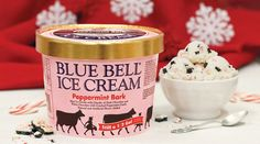 Blue Bell Introduces New Peppermint Bark Ice Cream For The 2018 Holiday Season - Chew Boom Peppermint Ice Cream, Peppermint Bark, Ice Cream Flavors, Vanilla Ice Cream, Thing 1, Chocolate Cream, Pumpkin Spice Latte, Baking Ingredients, Clean Eating Snacks