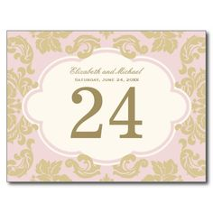Pink, Ivory, Gold | Wedding Table Number Card Post Cards