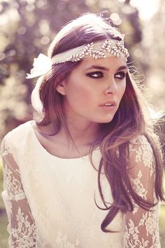 Boho chic is an amazing style for a wedding, it's so relaxing, light, airy - and you look like a forest fairy! If you have already chosen a boho dress to rock, it's time to choose a good bohemian headpiece to accentuate your look. Wedding Headband, Boho Wedding Dress, Wedding Dresses, Boho Headband, Jeweled Headband, Bridal Headbands, Boho Headpiece, Chic Wedding, Gipsy Wedding