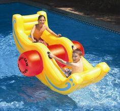 Inflatable Pool Float For Kids Rocker Raft Lounger Floating Swimming Toys Tube