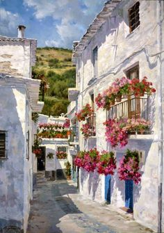 """Calle de la Alpujarra de Granada"", óleo de Peter Bojthe."