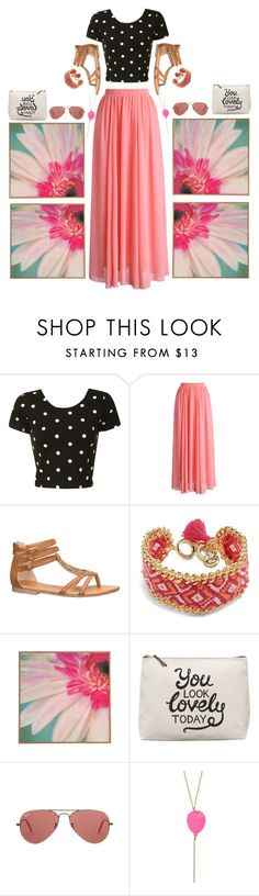 """""""Reflect!!!"""" by pineapplesandpomegranates ❤ liked on Polyvore featuring Glamorous, Chicwish, maurices, Vera Bradley, Ray-Ban, croptop, PolkaDots, Flowers, maxiskirt and sandals"""