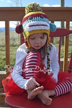Crocheted Boy or Girl Sock Monkey Beanie. $22.00, via Etsy.