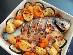 Dourada no forno com batata, cenoura e courgette, Receita Petitchef