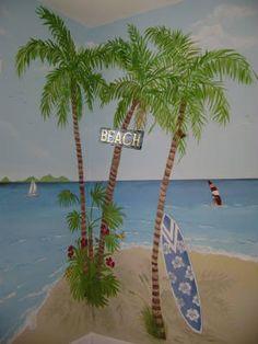 Beach mural , palms and surfboard #Murals  #Kidsmurals http://muralmax.com