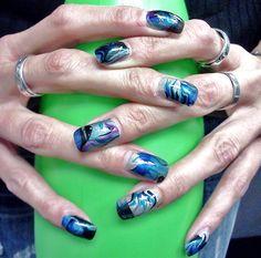 Marbelizing in Blue by theladymust12 - Nail Art Gallery nailartgallery.nailsmag.com by Nails Magazine www.nailsmag.com #nailart