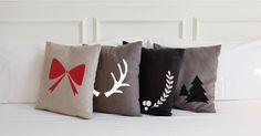Decora cualquier objeto en tu hogar con estos lindos esténciles. Son diseños únicos de La Navidad. Throw Pillows, Ideas, Bed, Objects, Xmas, Home, Toss Pillows, Cushions, Stream Bed