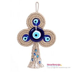 Three Leaf Clover Evil Eye with Evil Eye Bead Crafts To Sell, Diy And Crafts, Arts And Crafts, Hamsa Design, Three Leaf Clover, Origami Butterfly, Rope Crafts, Evil Eye Pendant, Handmade Frames