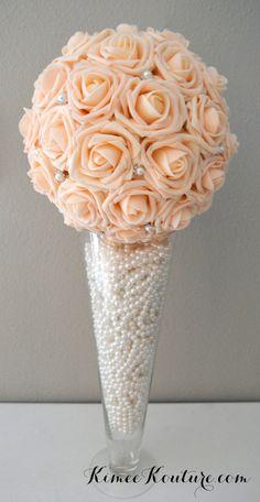Peach Blush Bling Pearl Brooch Elegant Wedding foam flower