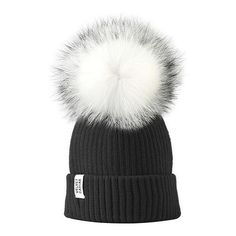 Lux Black Beanie White Fur Pom (170 SAR) ❤ liked on Polyvore featuring accessories, hats, beanie, fur pom pom hat, pom beanie, fur hat, pompom hat and fur pom-pom hats