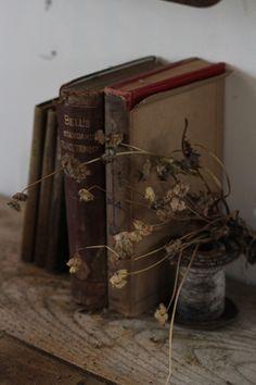 Old books, dried flowers, vintage atmosphere