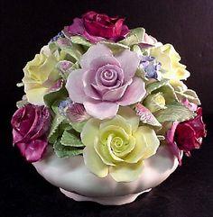 coalport china   Coalport Large Vintagae Basket Bouquet Vase Flowers Bone China England ...