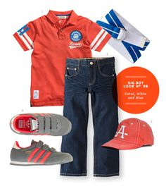Big Boy Outfit: Coral, White, and Blue