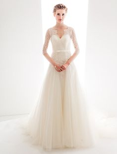 Wedding Dress A Line Court Train Lace And Tulle Queen Anne Neckline Bridal Gown With Sash - USD $ 249.99