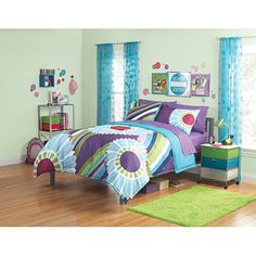 your zone floral stripe Reversible Comforter and sham set