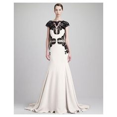 CAP-SLEEVE BACKLESS LACE & CADY GOWN, BLACK/IVORY - LELA ROSE $4,695.00