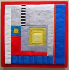 """Essentials #2.  Hand dyed and commercial cotton, fused, machine quilted and mounted on painted wood panel. 12"""" square."""