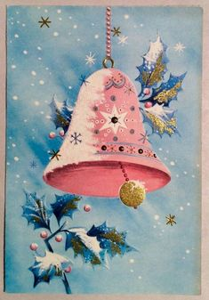 Pink bell Vintage Pink Christmas, Old Christmas, Old Fashioned Christmas, Christmas Bells, Vintage Holiday, Christmas Pictures, Vintage Valentines, Vintage Greeting Cards, Christmas Greeting Cards