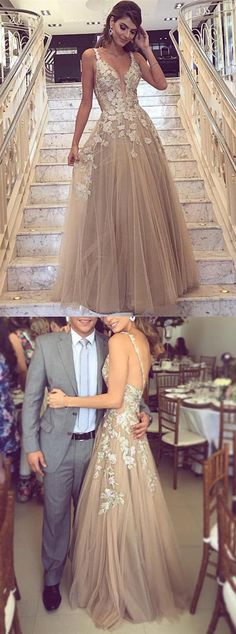 2019 Sexy Backless Deep V Neckline Lace A Line Lace Long Custom Evening Prom Dresses, This dress could be custom made, there are no extra cost to do custom size and color A Line Prom Dresses, Tulle Prom Dress, Cheap Prom Dresses, Wedding Party Dresses, Evening Dresses, Formal Dresses, Long Dresses, Dress Long, Prom Party